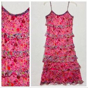 L'Pogee Dress Beaded Tiered Ruffle Floral Pink XS